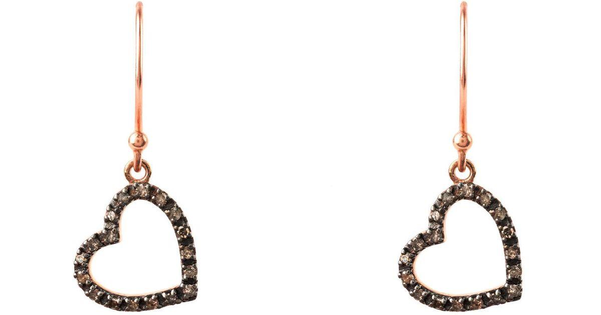Latelita London Diamond Large Open Heart Earring Rose gold U2MFsJu