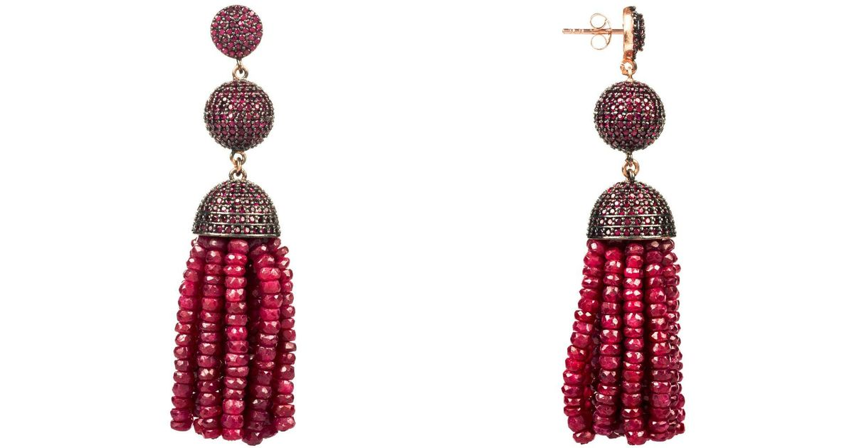 Latelita London Tassel Ball Necklace Ruby (Oxidized) FkRapu