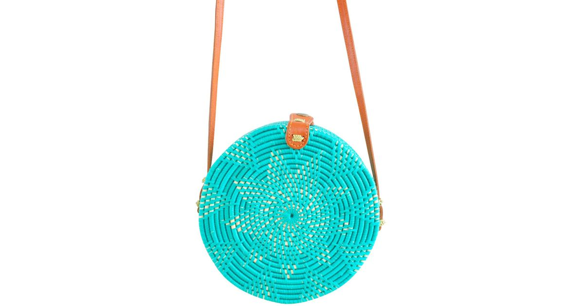 Soi 55 Lifestyle Cantik Round Bali Bag Turquoise In Blue Lyst