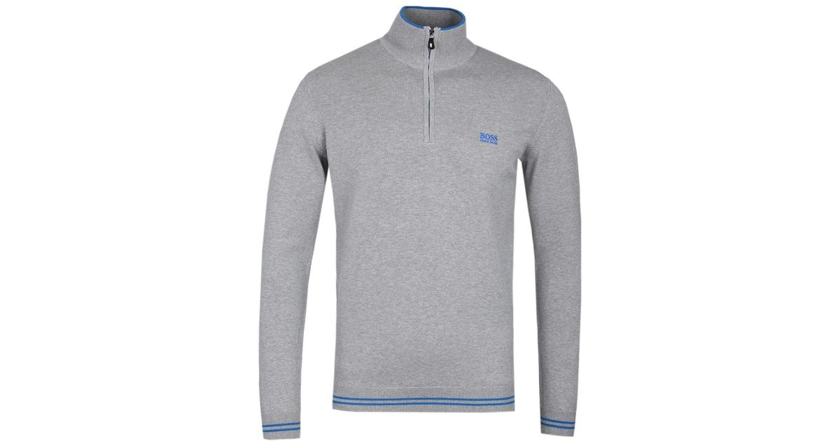 1b97217a2 BOSS Athleisure Boss Zimex Grey Quarter Zip Knitted Sweat in Gray for Men -  Lyst