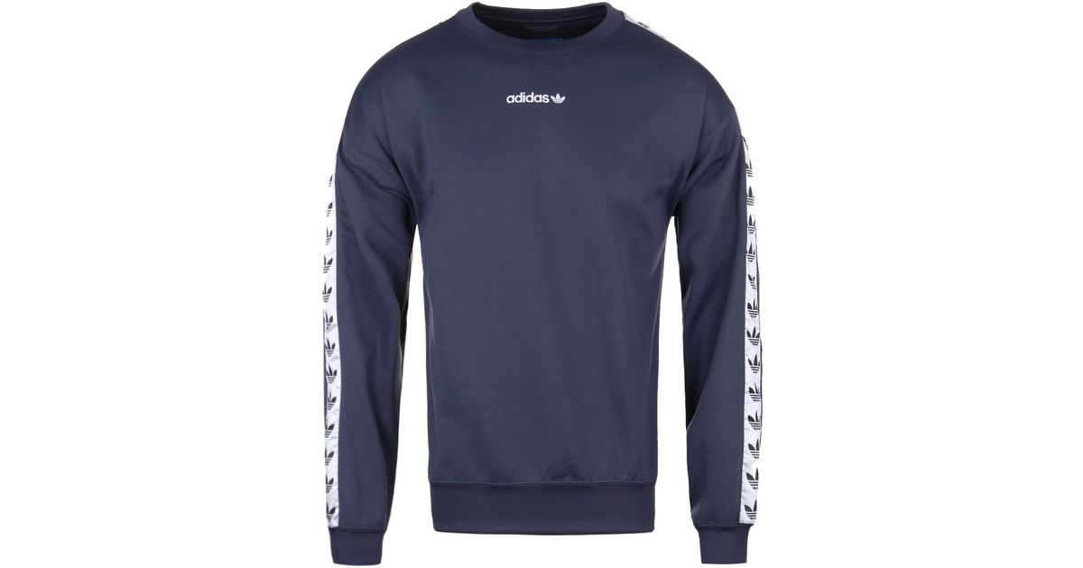 cheap for sale affordable price united states Adidas Originals Blue Adidas Tnt Tape Navy Crew Neck Sweatshirt for men