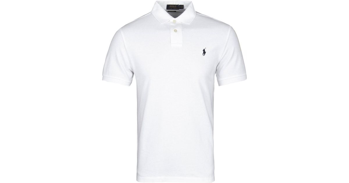 d7216b652 ... coupon code for polo ralph lauren white short sleeve custom slim fit  pique polo shirt in