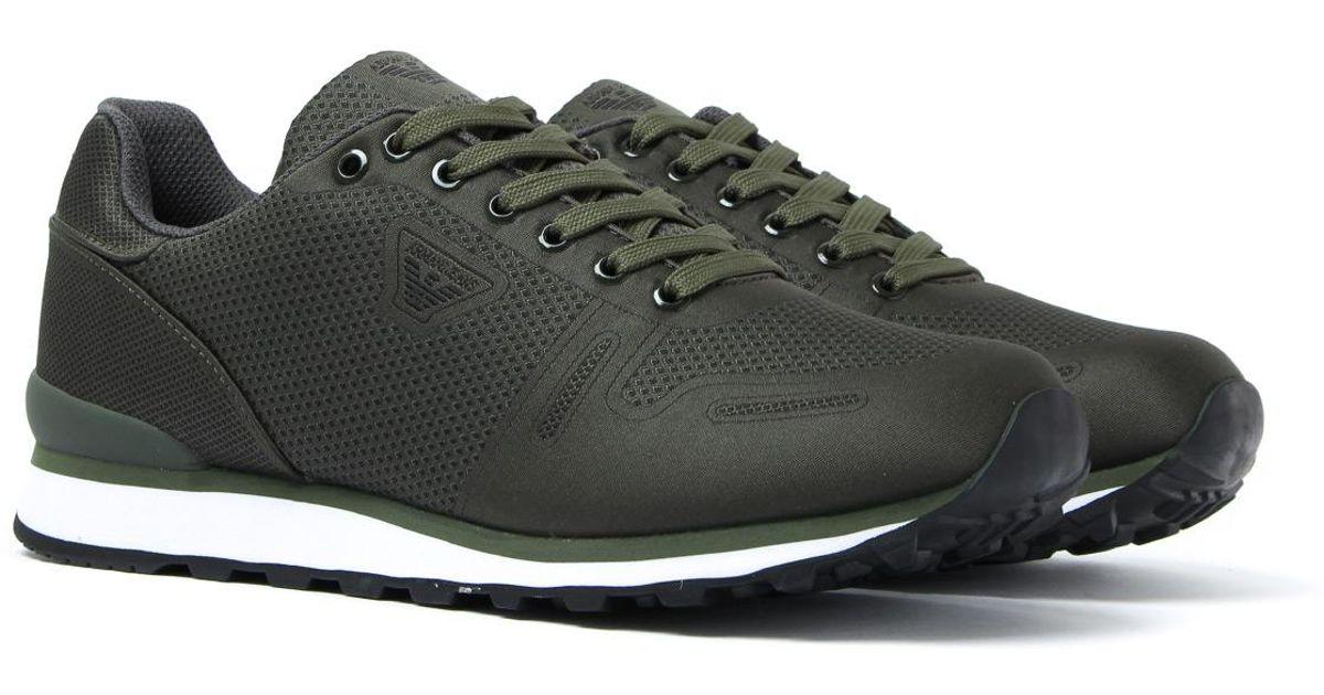 sale retailer 6e290 a634c Armani Jeans Dark Green Mesh Printed Trainers for men