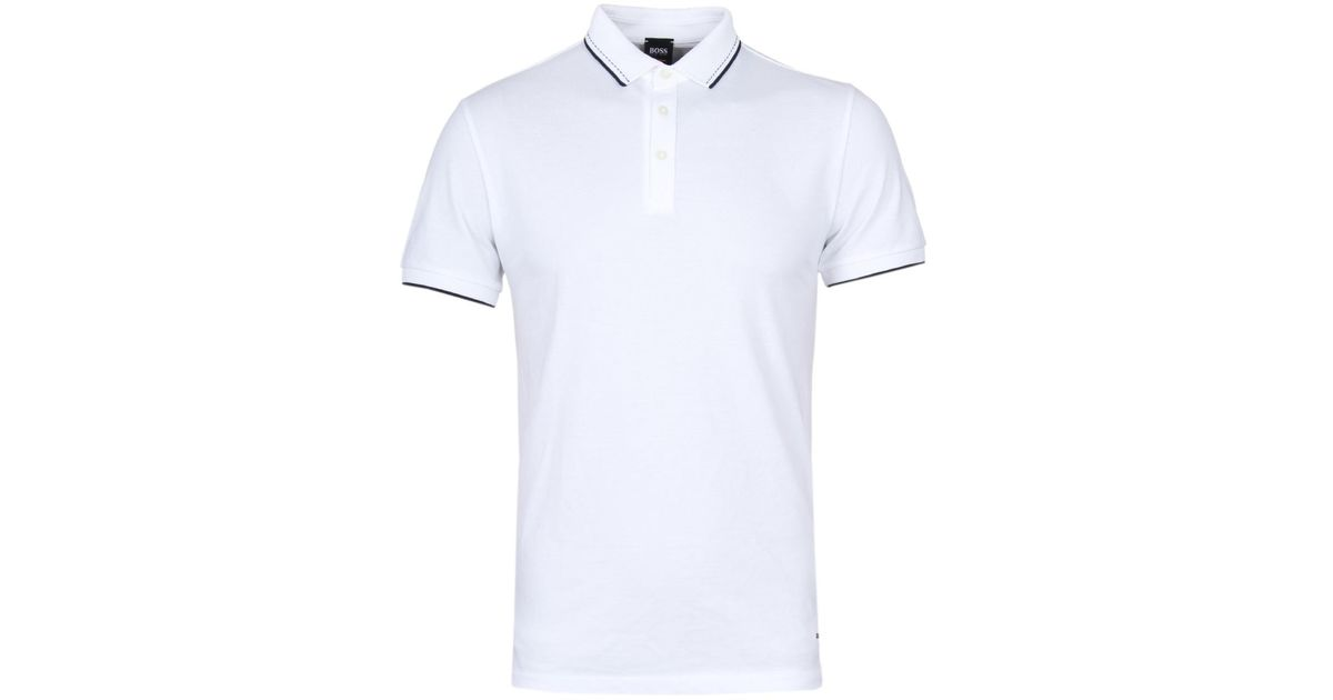 1eec01aa ... ireland boss orange payout white waffle collar pique polo shirt in  white for men lyst ac8ce