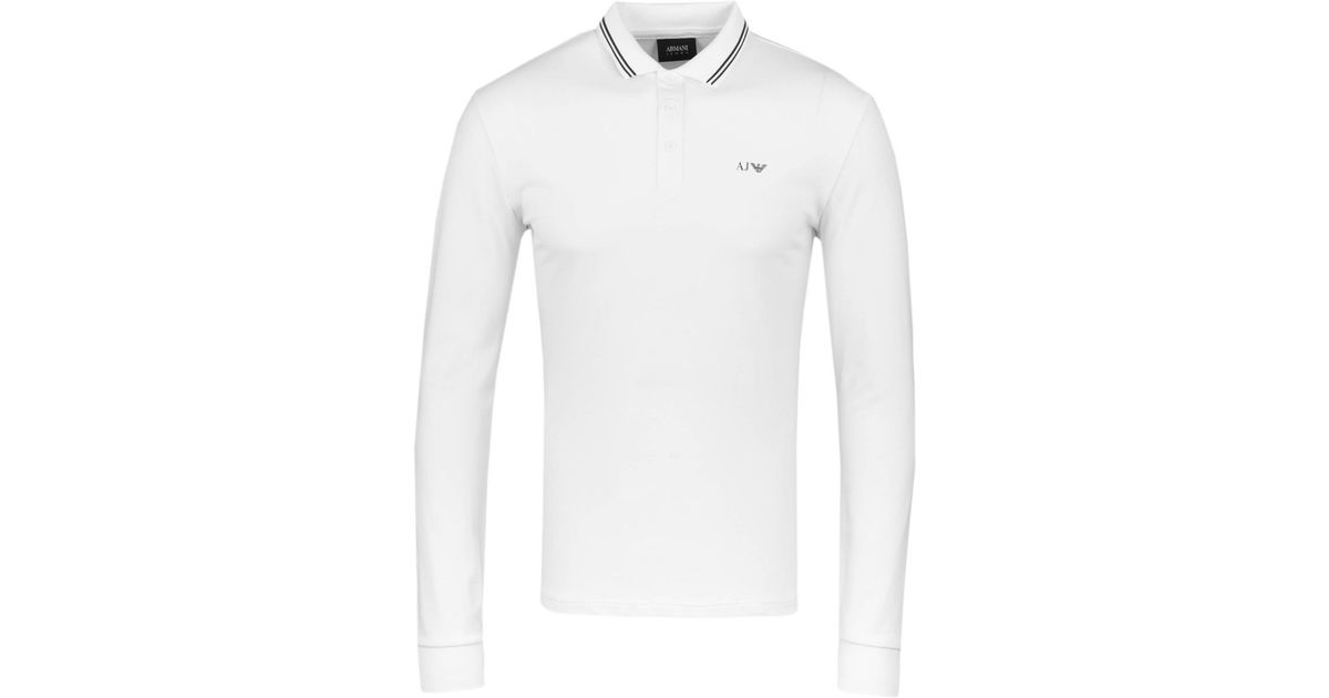 d916fc88f22b2 Lyst - Armani Jeans Twin Tipped White Pique Long Sleeve Polo Shirt in White  for Men