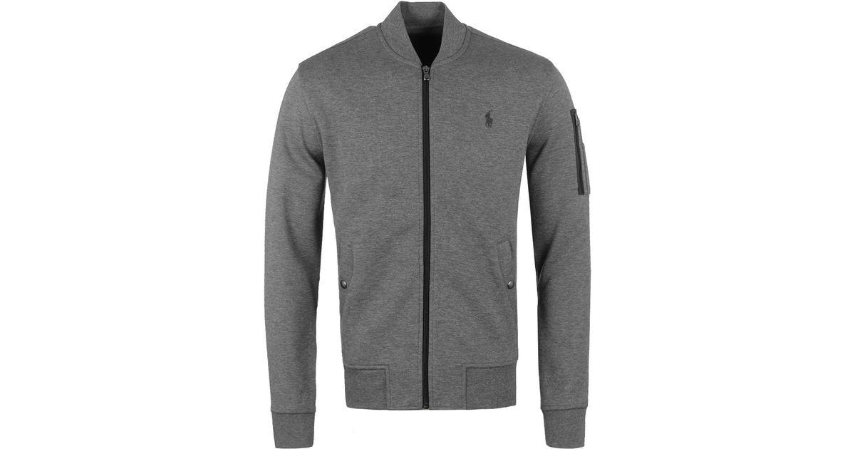 Lyst - Polo Ralph Lauren Grey Heather Sweat Bomber Jacket in Gray for Men