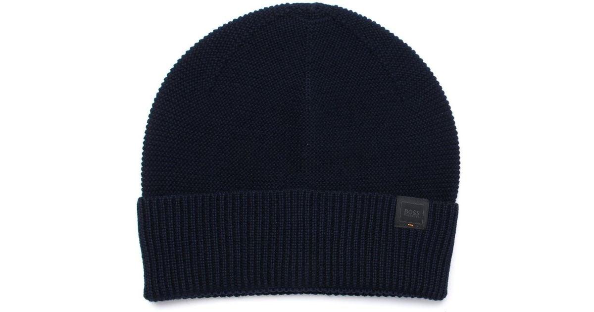 Lyst - BOSS Navy Virgin Wool Beanie Hat in Blue for Men a9faa0cdd84