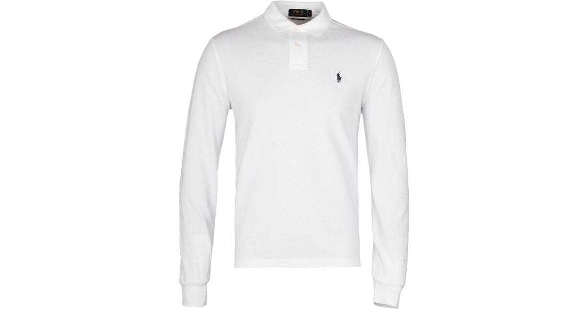 e3fa8b15 Lyst - Polo Ralph Lauren White Long Sleeve Mesh Polo Shirt in White for Men