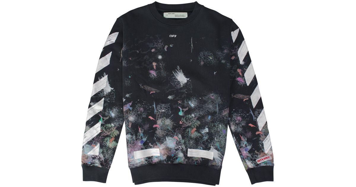 d3ac7458254b Lyst - Off-White c o Virgil Abloh Diagonal Galaxy Brushed Crewneck in Black  for Men