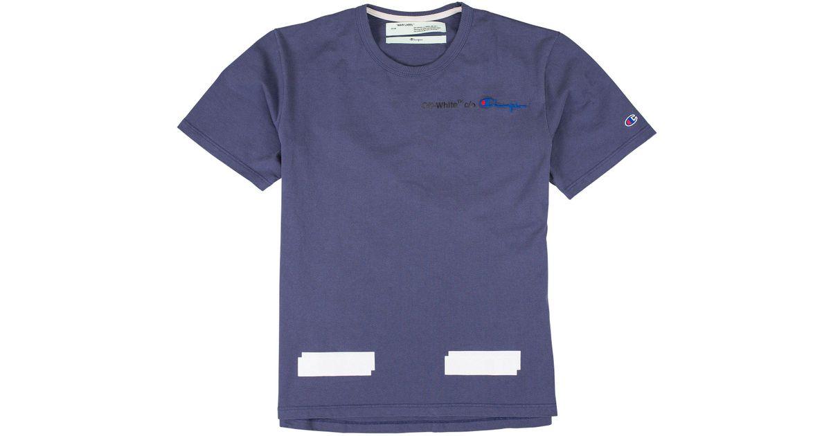 5bad5ee25 Off-White c/o Virgil Abloh Champion T-shirt in Blue for Men - Lyst