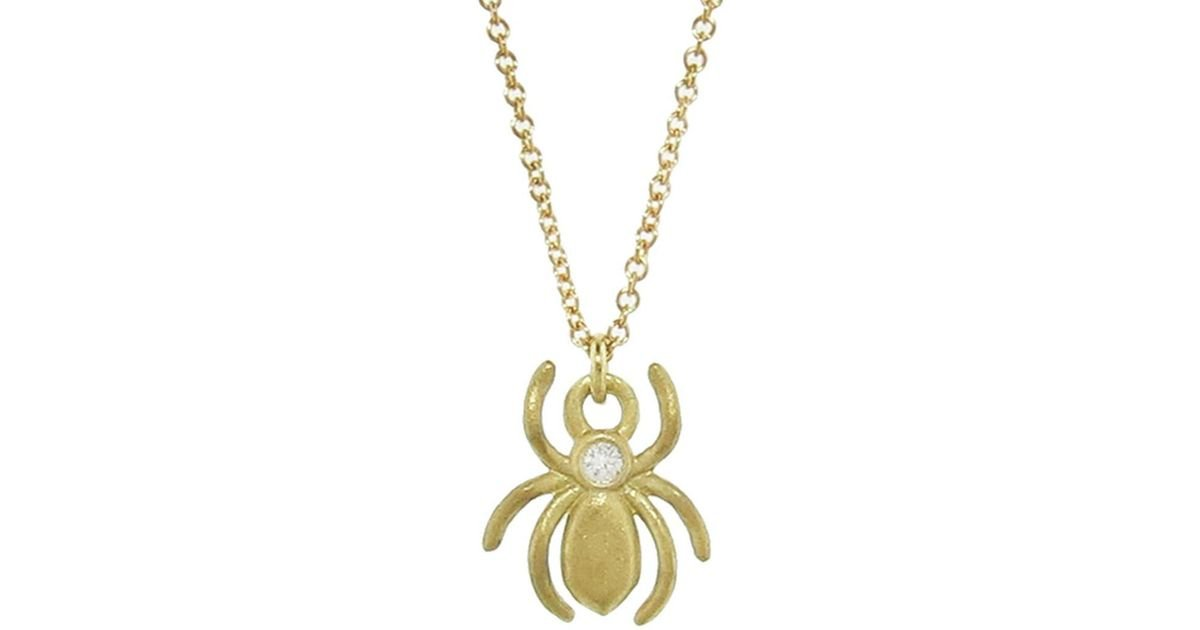Lyst tate single diamond spider pendant necklace aloadofball Image collections