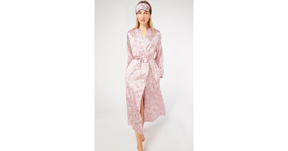 Yolke Pink Marianne Rose Silk Dressing Gown Lyst