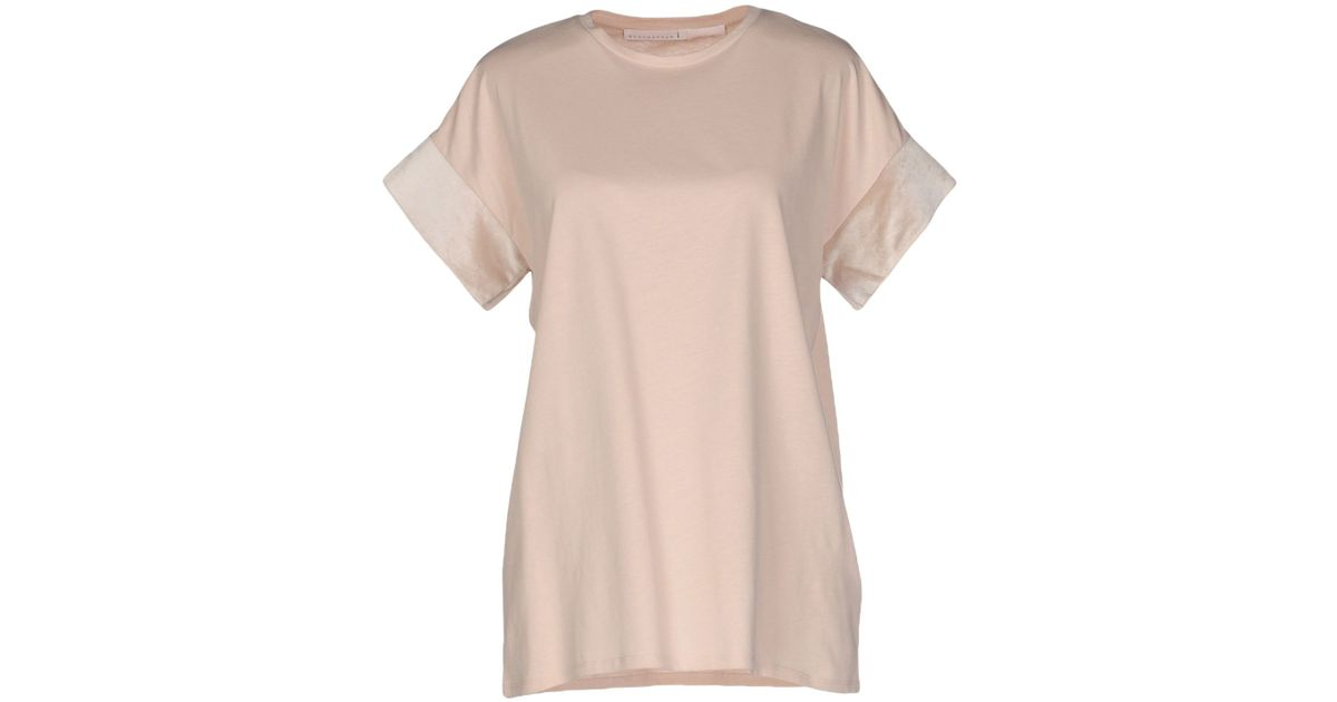 Schumacher t shirt in beige skin color lyst for Beige pants what color shirt