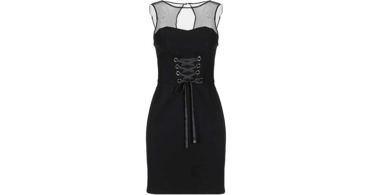 Guess Tulle Short Dress in Black - Lyst