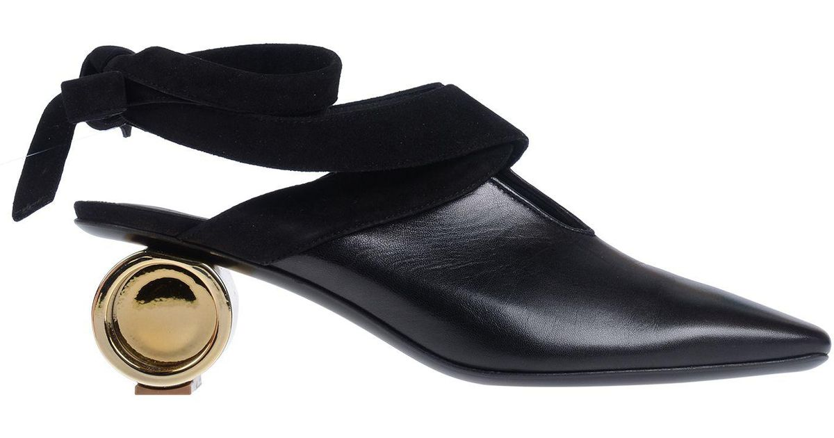JW Anderson Cylinder-heel Leather Mules in Black - Lyst