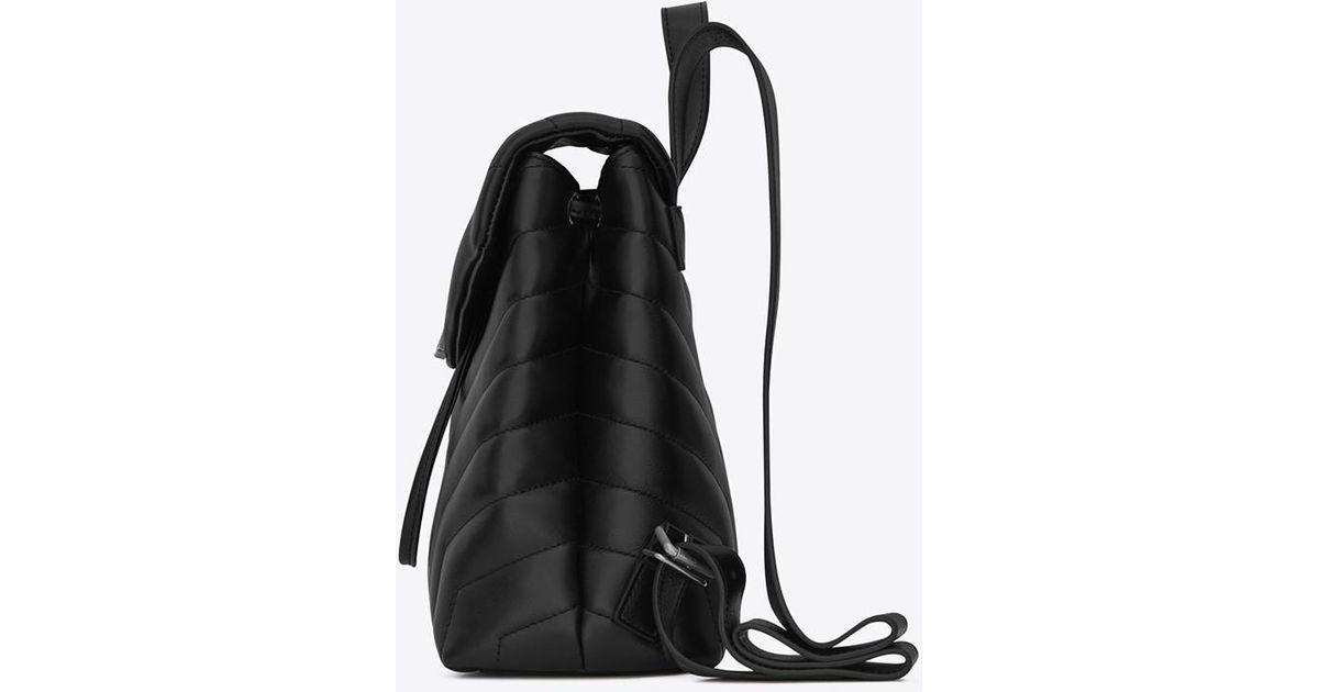 5daf8904c1 Saint Laurent Black Loulou Small Backpack In Matelassé