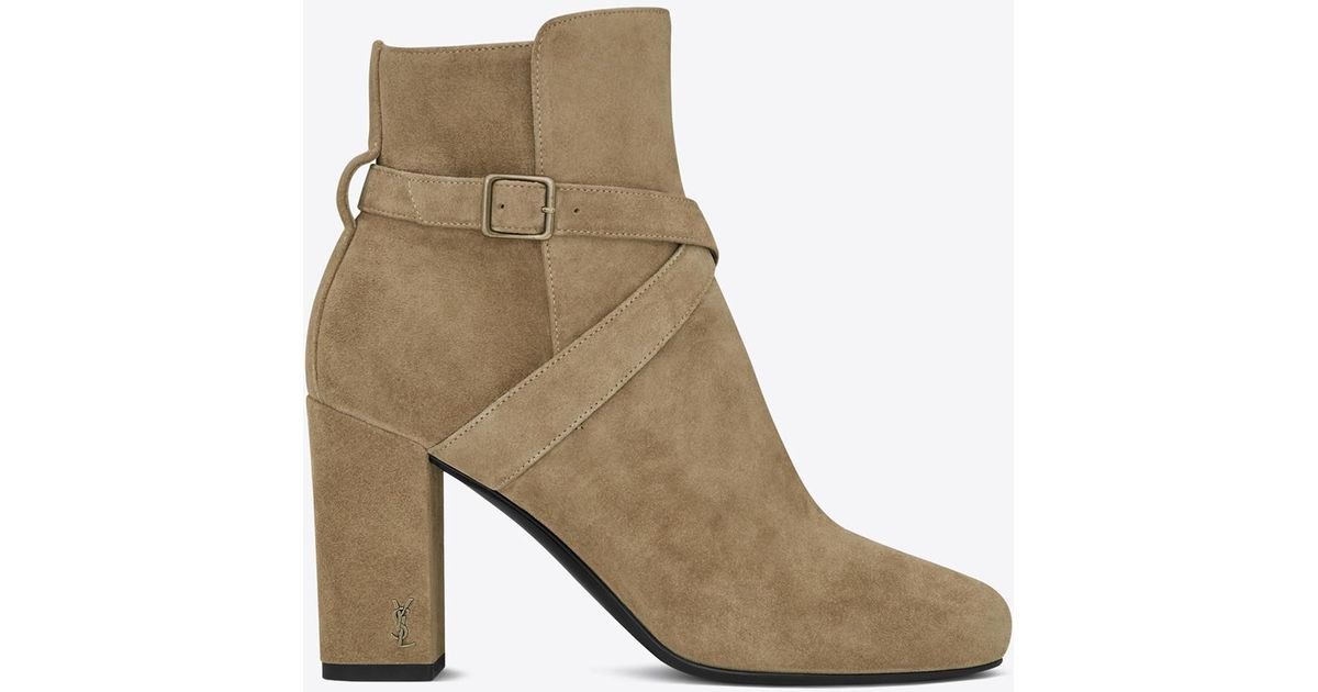 0599d9708e Saint Laurent Brown Babies 90 Cross Strap Ankle Boot In Light Tobacco Suede  And Antique Gold-toned Metal