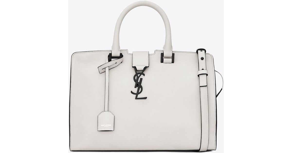 6d0479bc1d Saint Laurent Small Cabas Ysl Bag In Dove White And Black Leather in White  - Lyst