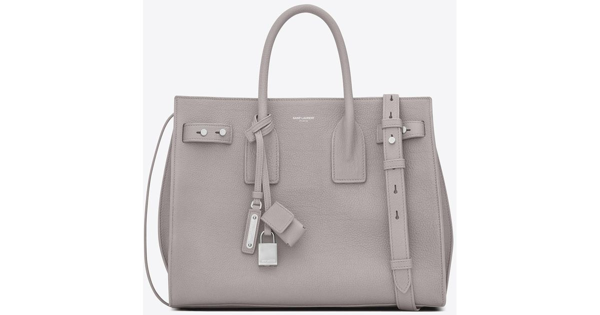 24beea376d2b Saint Laurent Small Sac De Jour Souple Bag In Mouse-gray Grained Leather in  Gray - Lyst