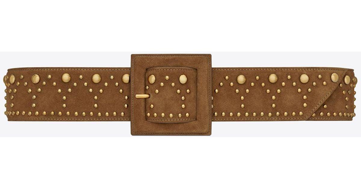 e63be58f13 Saint Laurent Brown Y Stud Corset Belt In Cognac Suede And Vintage  Gold-toned Metal for men