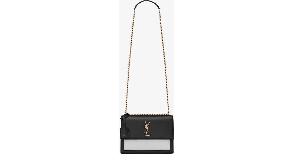 6261ab4e62a Saint Laurent Medium Sunset Bag In Black And Pearl White Leather in Black -  Lyst