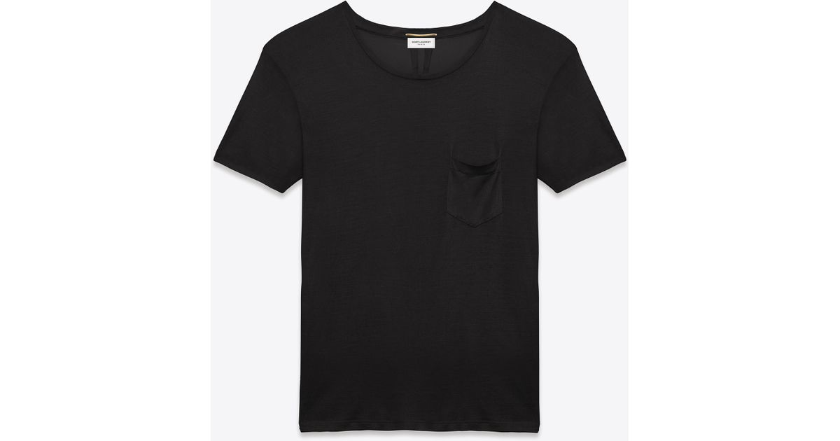 022e9e7198c0 Lyst - Saint Laurent Classic Short Sleeve Pocket T Shirt In Black Washed  Silk Jersey in Black for Men