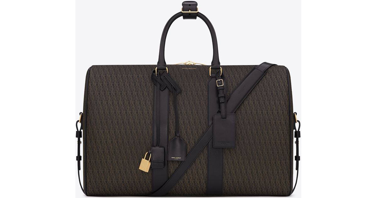 d571ee822dd9 Lyst - Saint Laurent Classic Toile Monogram Duffle 24 Bag In Black Printed  Canvas And Leather in Black for Men