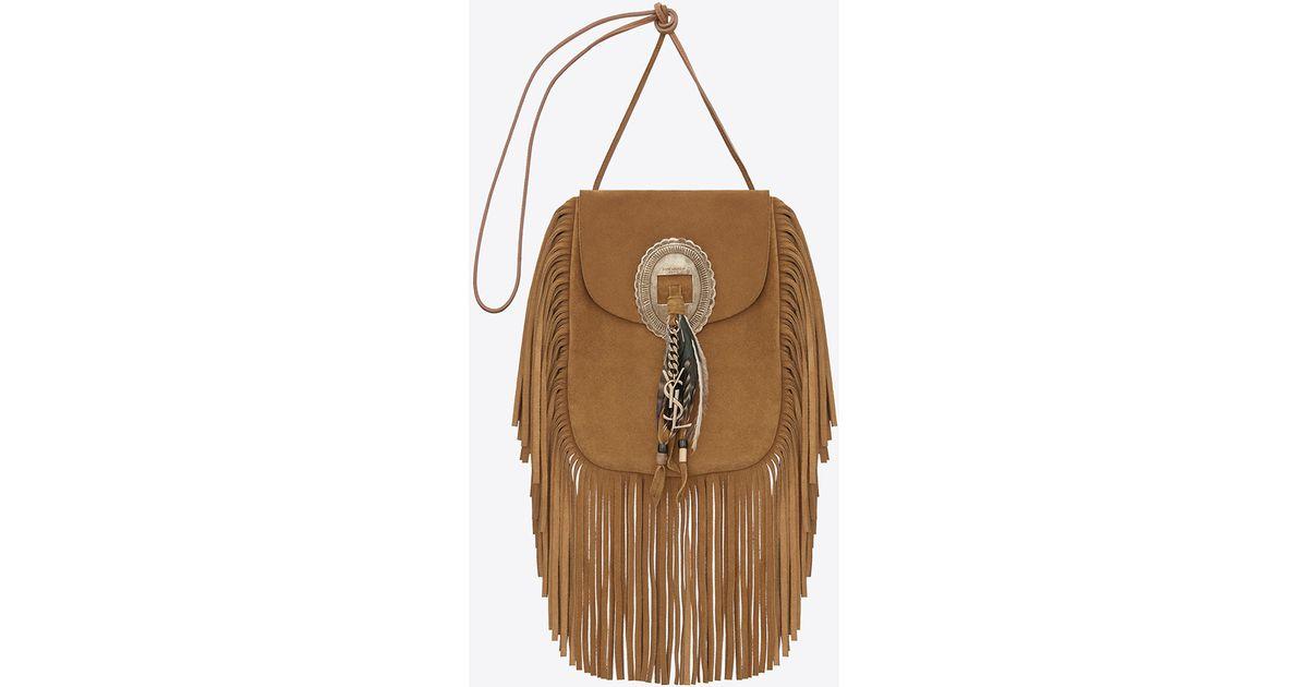 1ee53fb90390 Saint Laurent Anita Fringed Suede Cross-Body Bag in Brown - Lyst