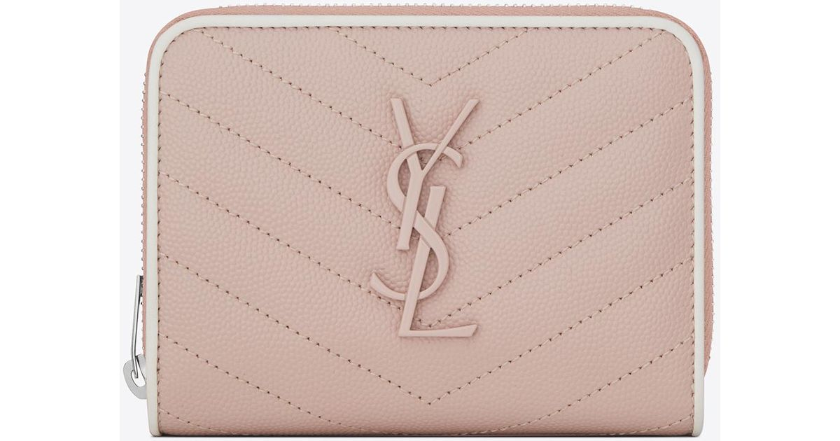 7abde90b28 Saint Laurent Compact Zip Around Wallet In Pink And White Textured Quilted  Leather