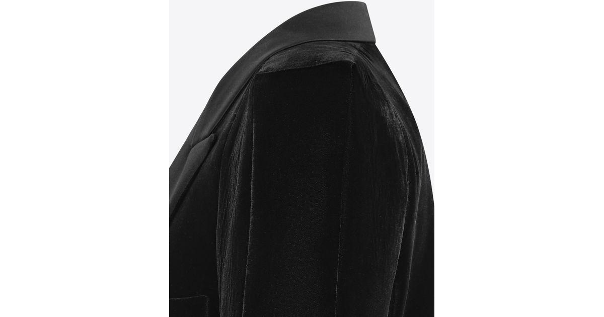 d61ffb0e48 Saint Laurent Tuxedo Jacket With Square-cut Shoulders In Black Velvet