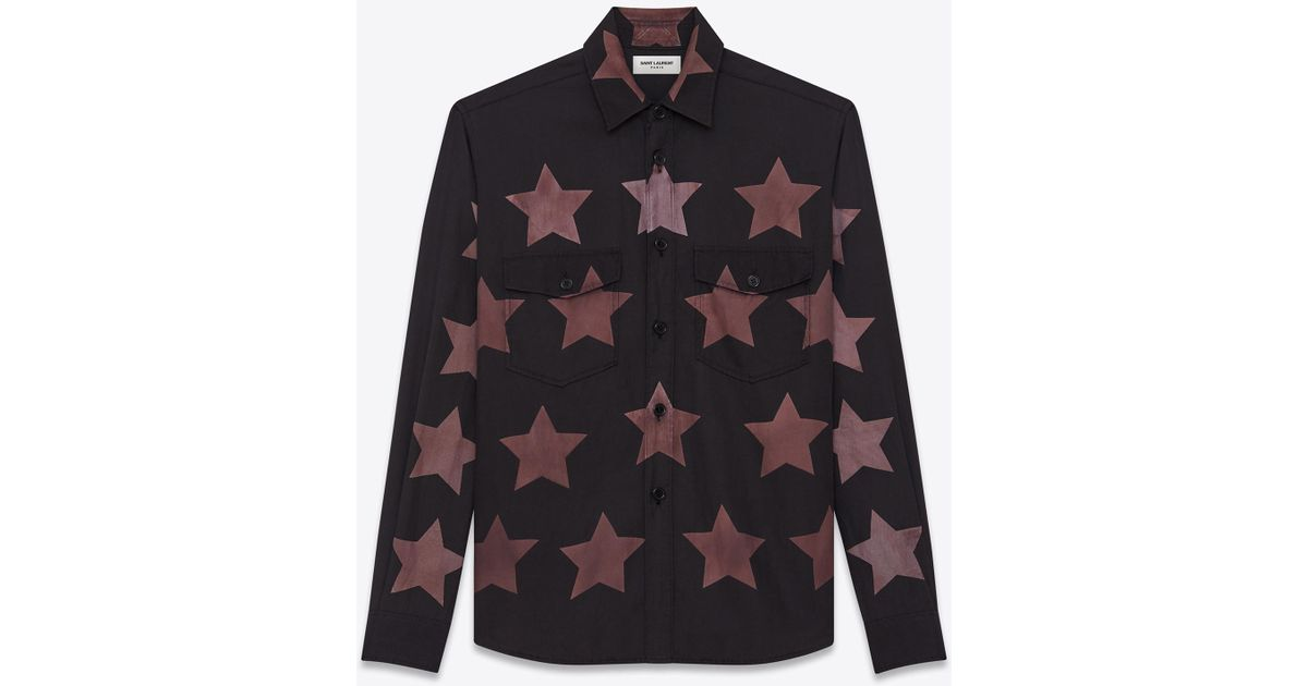 85e14c514d Saint Laurent - Gray Oversized Pointed Pocket Shirt In Black Bleached Star  Cotton And Viscose for Men - Lyst