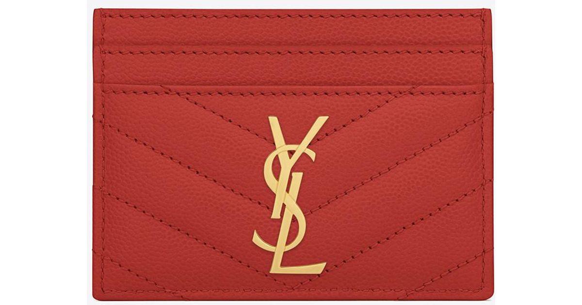 37daa33490b Saint Laurent Monogram Card Case In Grain De Poudre Embossed Leather in Red  - Lyst