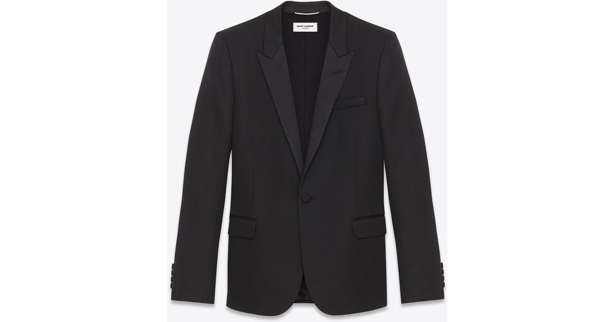 6420d285e46d0 Saint Laurent Iconic Le Smoking Jacket In Black Grain De Poudre Textured  Wool in Black for Men - Lyst