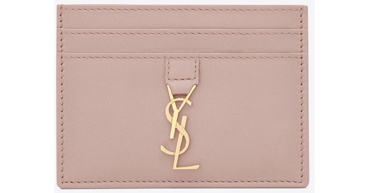new concept 9ff92 43e79 Saint Laurent Ysl Card Case In Powder Pink Leather