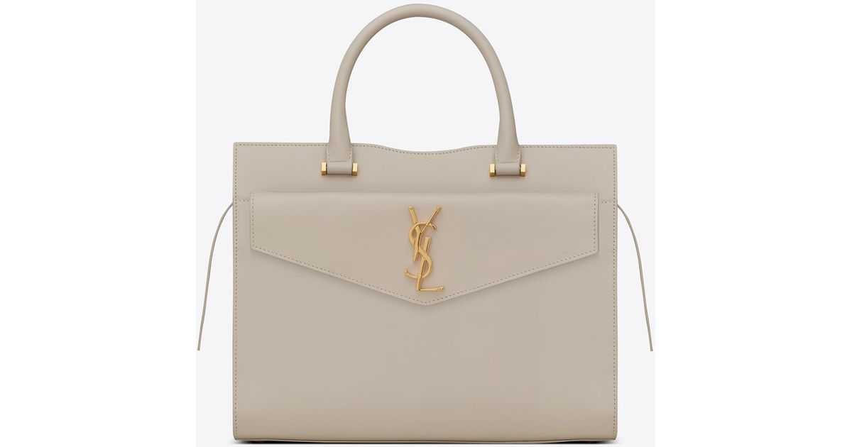f3e1d2ee89 Saint Laurent White Medium Uptown Tote In Shiny Smooth Leather