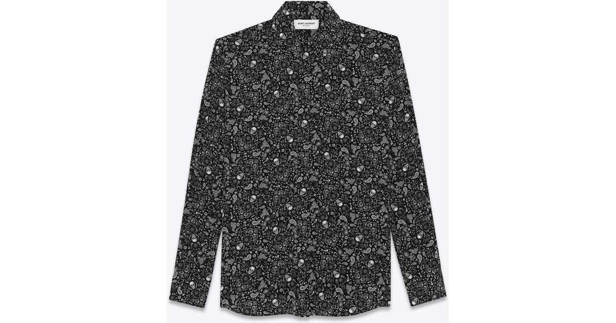 83e391eae7e Saint Laurent Crepe De Chine Usa Skull Shirt in Black for Men - Lyst
