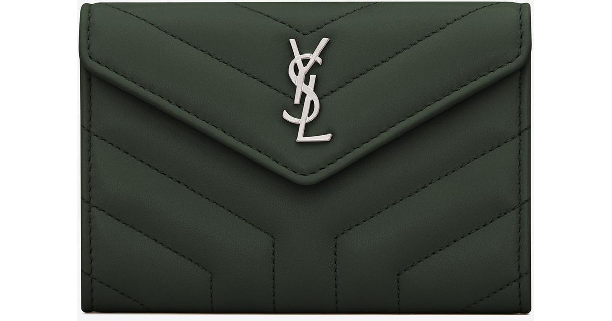 0e3300acae Saint Laurent Green Loulou Small Envelope Wallet