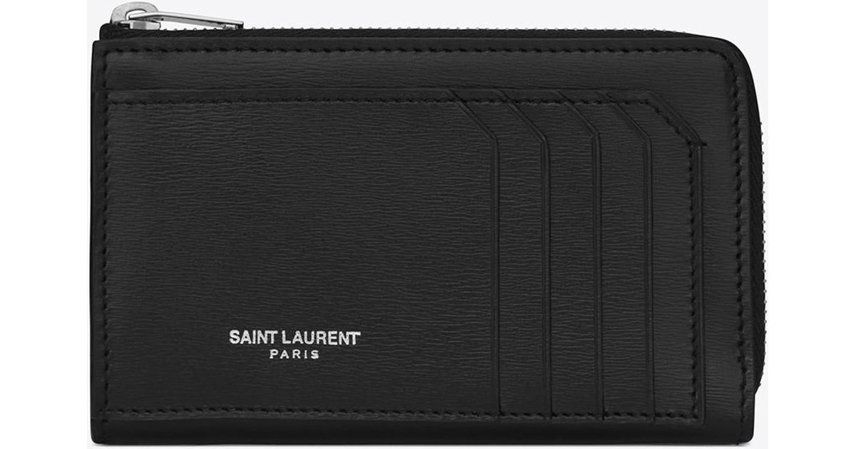 a16f8b03c8d Saint Laurent Fragments Zip Pouch With Key Ring In Black in Black - Lyst