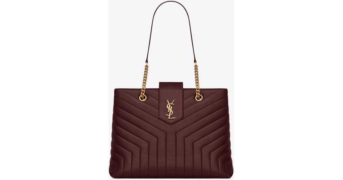 afcbc537f1 Saint Laurent Red Loulou Large Shopping Bag In Matelassé