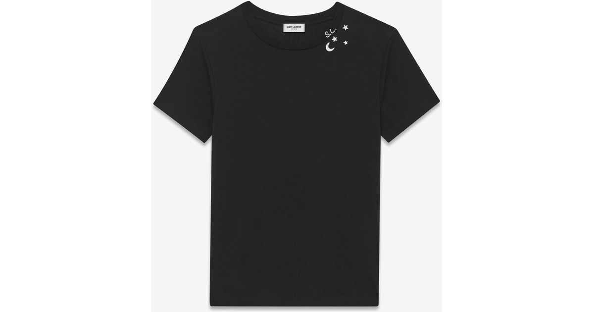 7bc6643dce Saint Laurent Punk Rock Short Sleeve T-shirt In Black And Ivory Moon And  Stars Printed Cotton Jersey for men