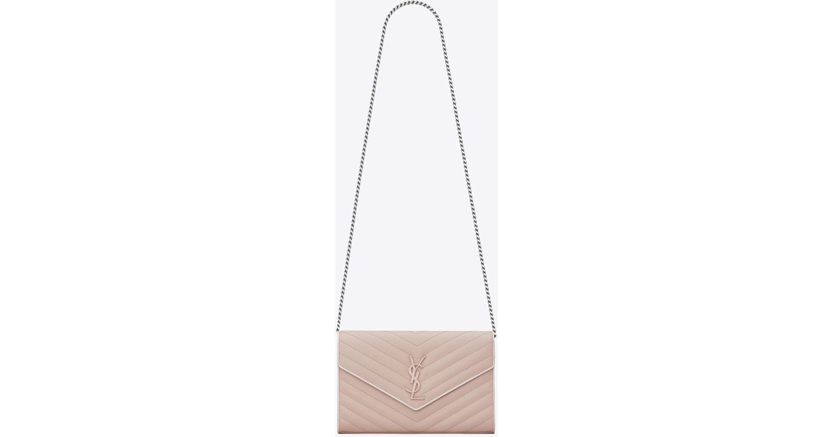 ff87b0a63c Saint Laurent Monogram Chain Wallet In Pink And White Textured Matelassé  Leather