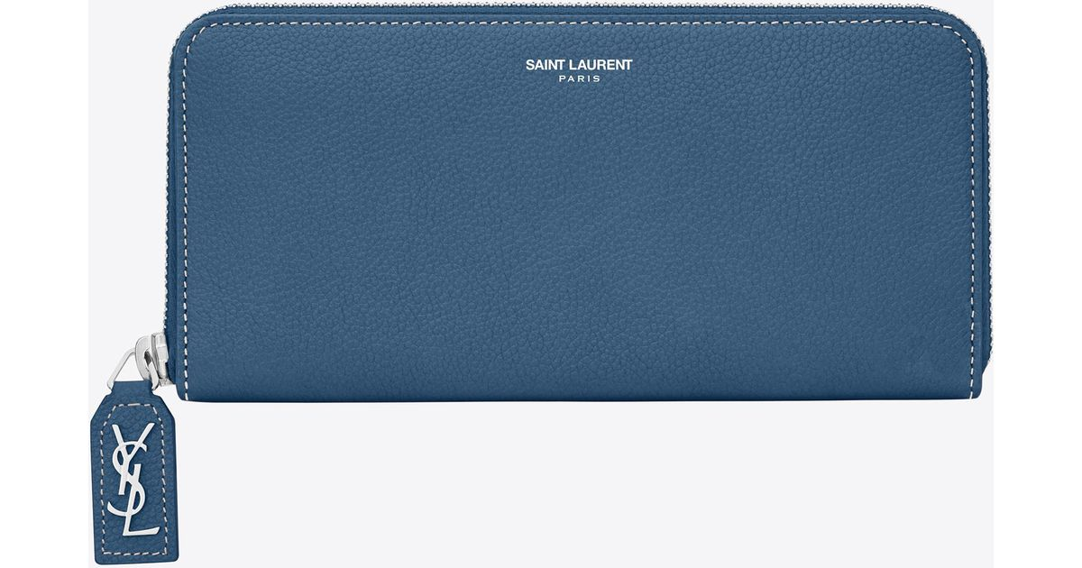 b13272ce48 Saint Laurent Large Rive Gauche Zip Around Wallet In Denim Blue Grained  Leather