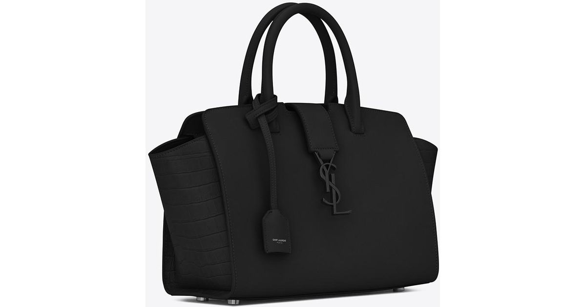 a4e5a5e1e5 Saint Laurent Baby Monogram Downtown Cabas Leather Tote Bag in Black - Lyst