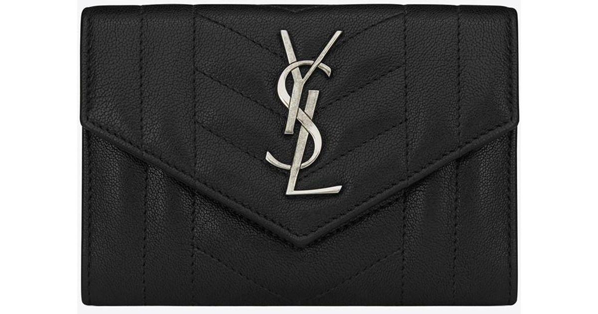 aec3e273283 Saint Laurent Small Monogram Envelope Wallet In Black Mixed Matelassé  Leather in Black - Lyst