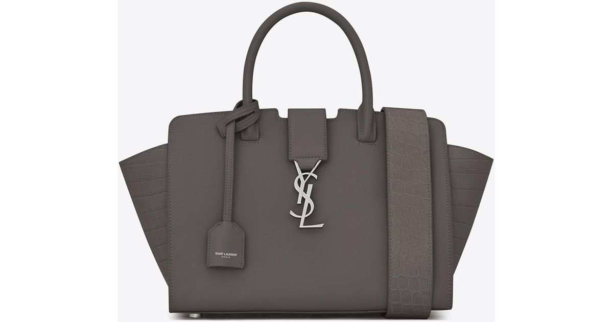 Lyst Saint Laurent Baby Downtown Cabas Ysl Bag In Grey