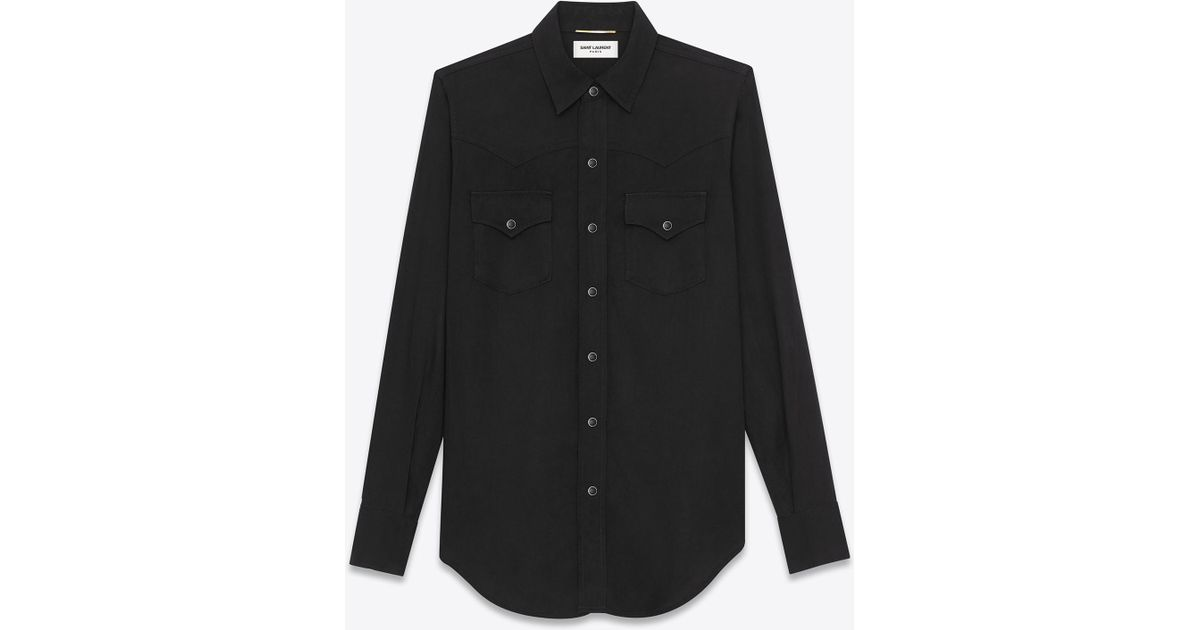 9afc0c72559 Saint Laurent Ysl 70s Western Shirt In Black Rinse Lyocell Twill in Black  for Men - Lyst