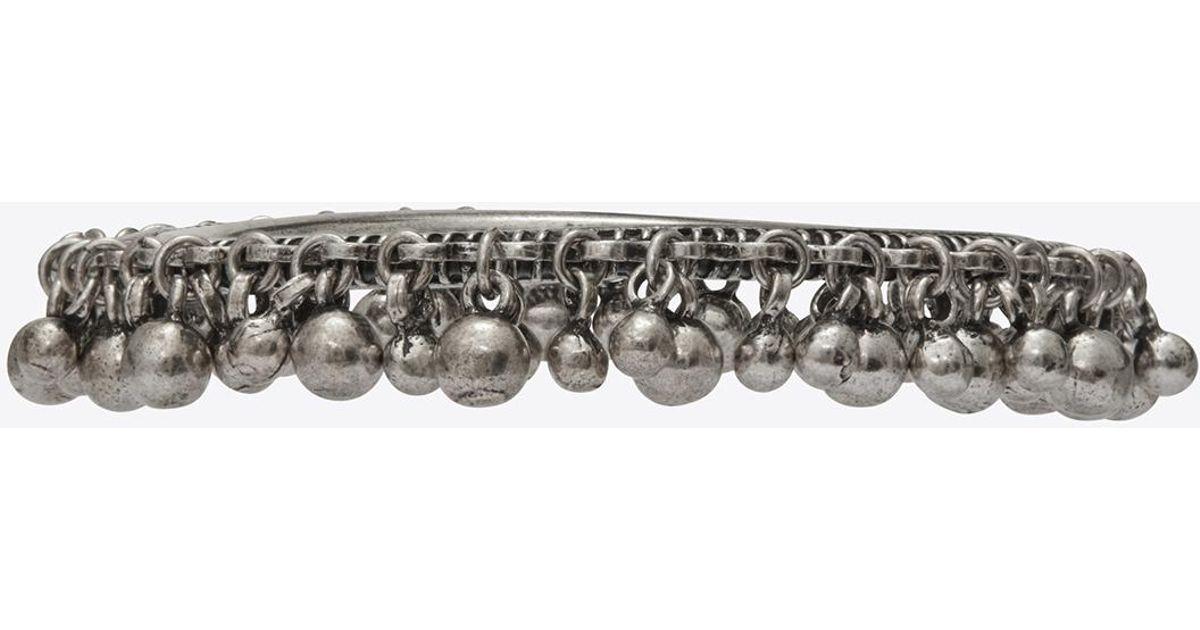 b0847bab62 Saint Laurent Metallic Ysl Folk Bracelet With Bells In Silver Metal.