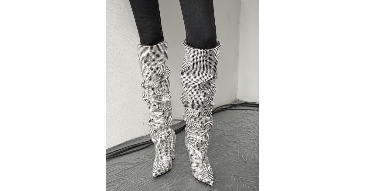 75e2bcc0605 Saint Laurent Metallic Niki 105 Thigh-high Boot With All-over Embroidered  White Crystals
