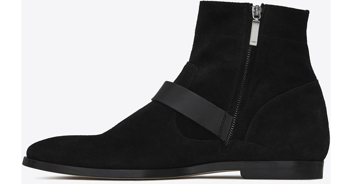 e0a67b3449 Saint Laurent Matt 25 Zipped Boots In Black Suede And Leather for men