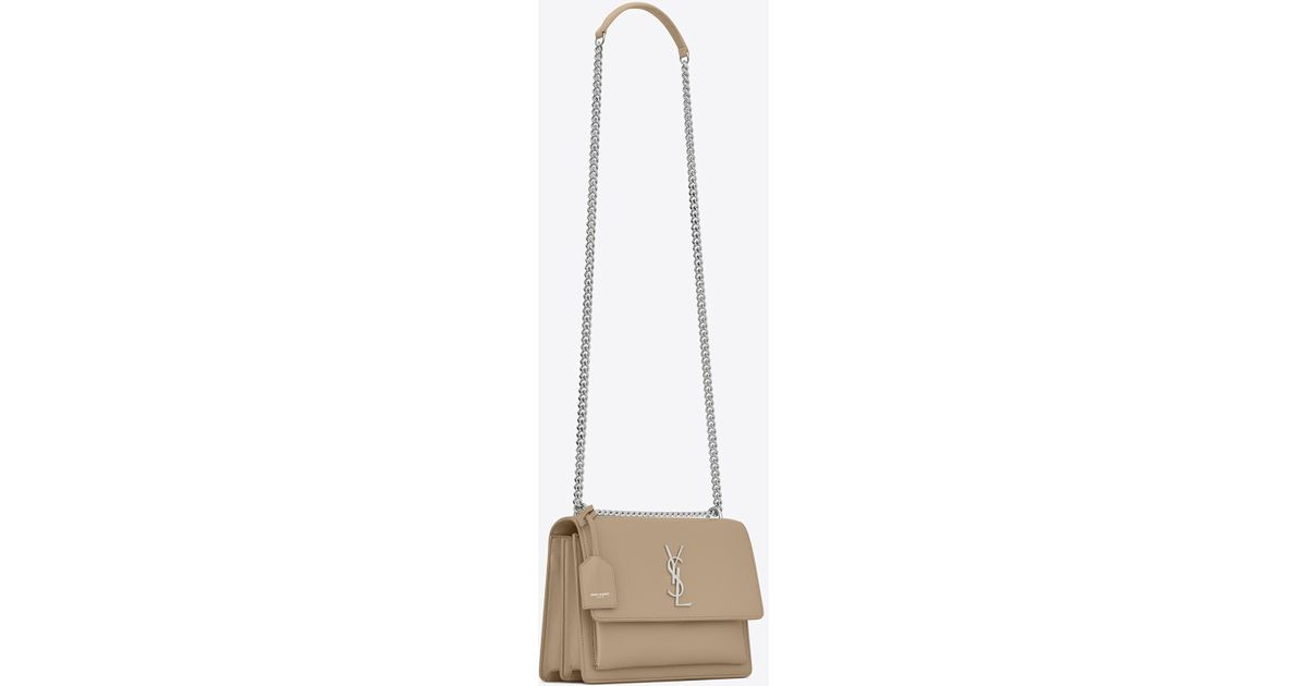 93d565caf23c Lyst - Saint Laurent Sunset Medium In Smooth Leather in Natural